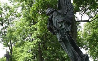 Rozskrzydlony pomnik polskiego artysty na cmentarzu przy ul. Rosu