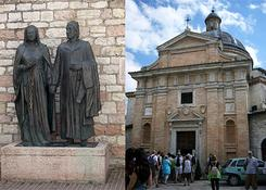 Posagi rodzicow sw. Franciszka i kosciol stojacy na miejscu jego domu.