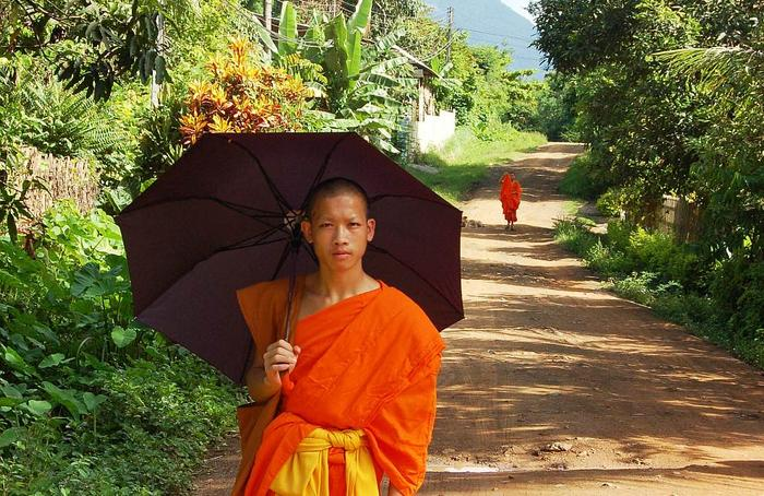 """Czarna parasolka, to nieodłączny """"atrybut"""" mnichów buddyjskich w Laosie"""