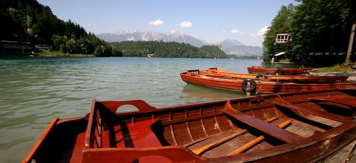 Łodzie nad jeziorem Bled