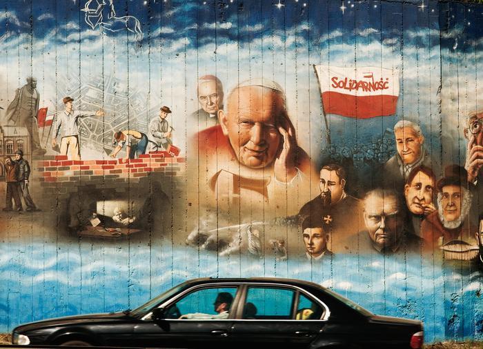 """1000-letnia historia Krakowa na graffiti """"Siolva Rerum"""" przy Al. Powstańców Śląskich"""