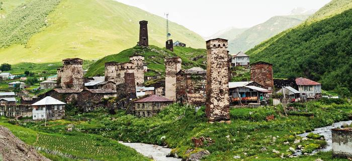 Kompleks kilku wiosek Ushguli połozony jest na wysokości 2200 m n.p.m.