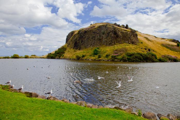 Holyrood Park i wyłaniająca się na jego szczycie skała zwana Lion's Head