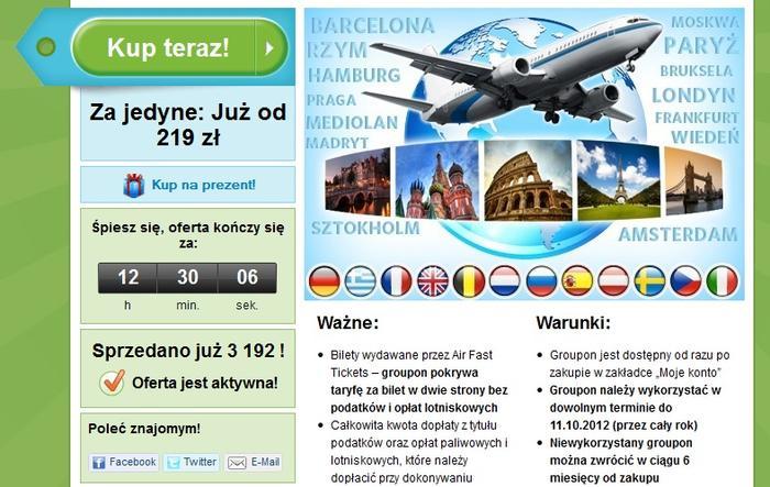 Oferta na bilety lotnicze w serwisie Groupon