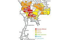Mapa Tajlandii z zaznaczeniem terenów zalanych przez powodzie