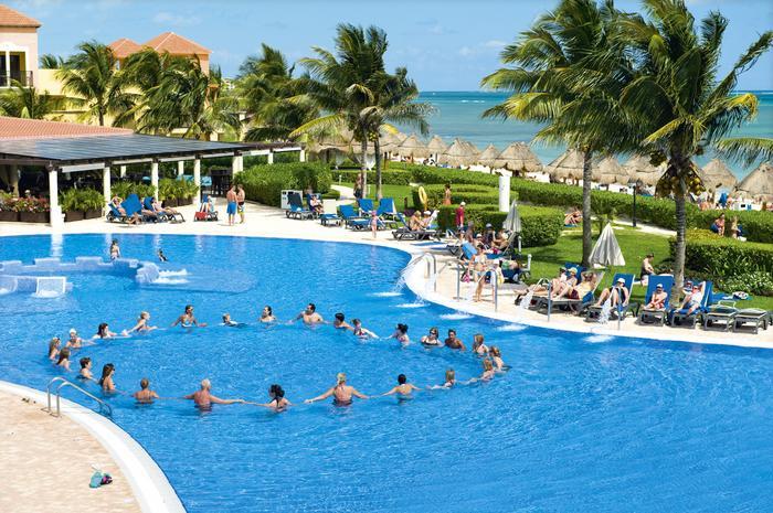 Wakacje, basen, palmy