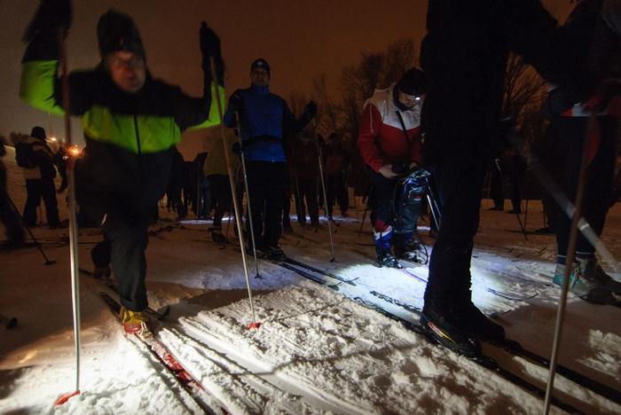biegówki nocą narty