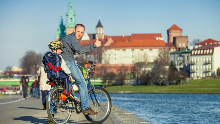 Trasy rowerowe. Rowerzysta w Krakowie