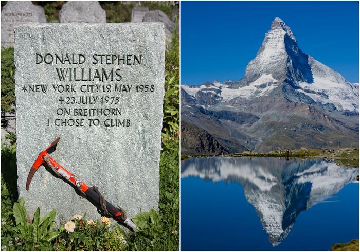 Nagrobek w Zermatt Park i Matterhorn