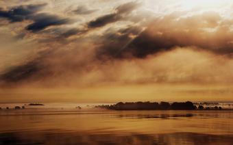 Olandia wyłaniająca się z porannych mgieł