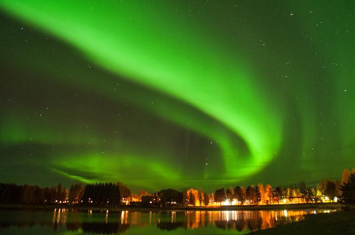 Zorza polarna w północnej Szwecji