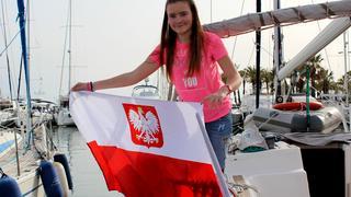 Bandera na naszym jachcie - a my w Hiszpańskim porcie Benalmadena