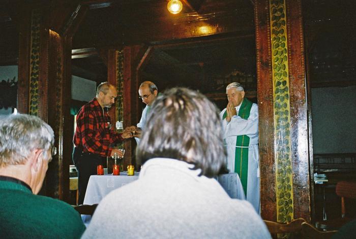 Msza w schronisku górskim w Karkonoszach
