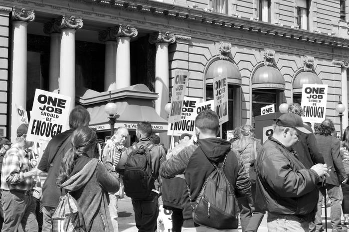 Protest z okazji Labor Day, San Francisco 3 września 2018 r.