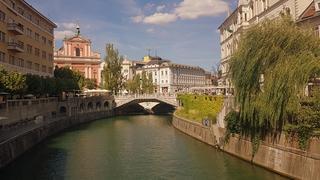 Lublana, widok na Potrójny Most