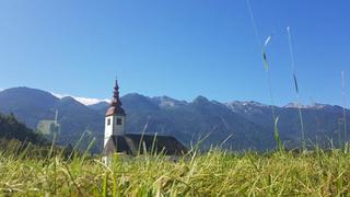 Słowenia, bardzo charakterystyczny pejzaż - biały kościółek i góry w tle