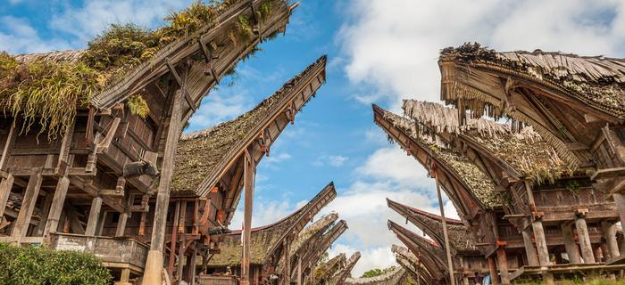 Tongkonany, tradycyjne domy Toradżów