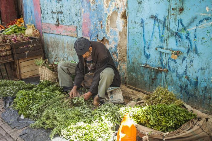 Kuchnia marokańska: mężczyzna sprzedaje zioła m.in. miętę