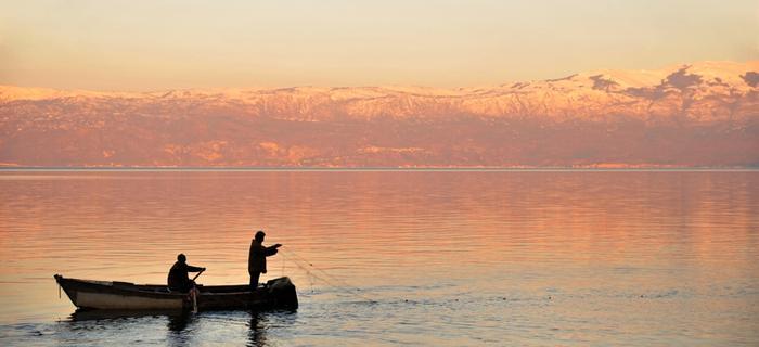 Połów na Jeziorze Ochrydzkim. Macedonia