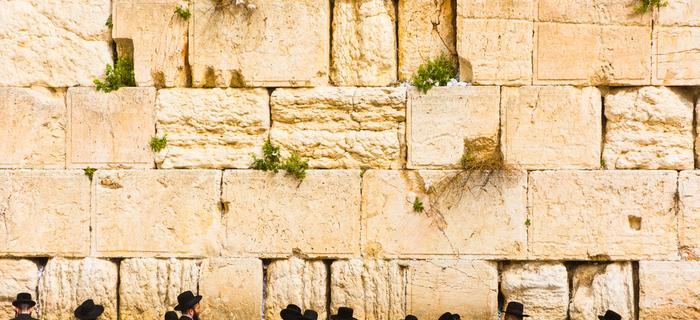 Modlitwy pod Ścianą Płaczu w Jerozolimie