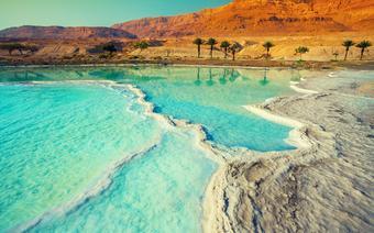 Brzegi Morza Martwego pełne są osadów solnych