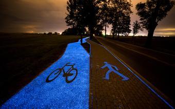 Świecąca ścieżka rowerowa niedaleko Lidzbarka Warmińskiego