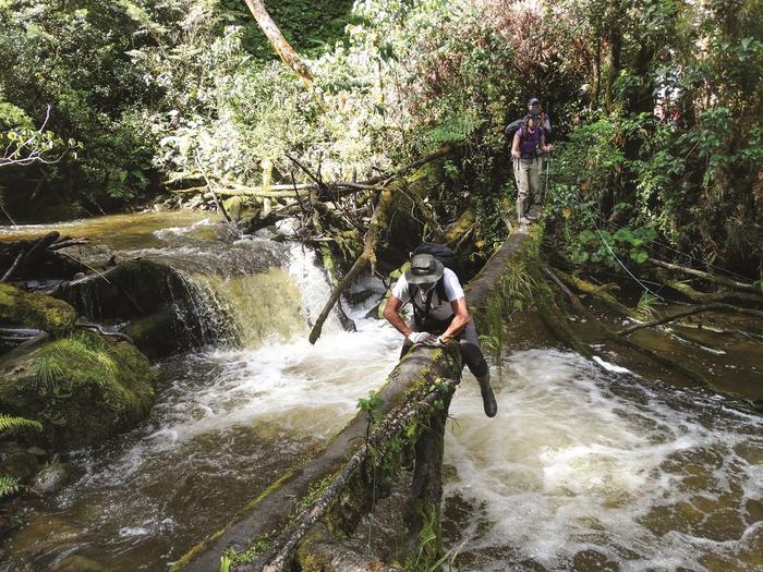 Przeprawa przez rzekę w drodze na Piramidę Carstensza