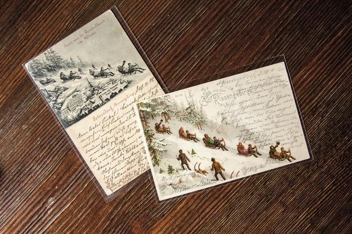 Sanie rogate na starych pocztówkach z Karkonoszy