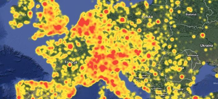 Mapa Europy na stronie Photo Spots