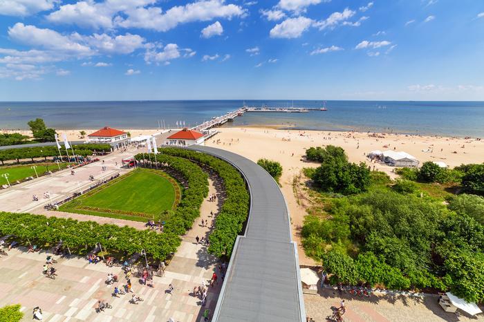 Sopot, widok z latarni morskiej na Morze Bałtyckie