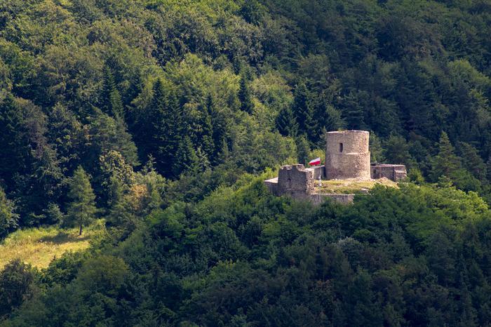 Zamek w Rytrze, 1,5 km od stacji kolejowej Rytro