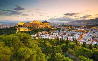 Widok na Akropol ze wzgórza Filopapposa