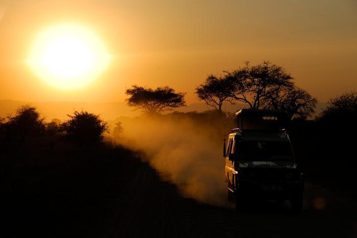 zachód słońca na równinach afrykańskich