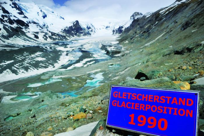 Zasięg lodowca w 1990 r.