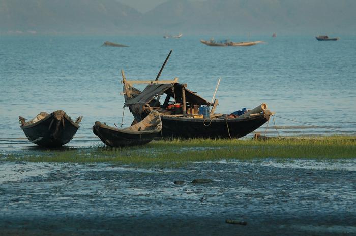 Łodzie rybackie w Sittwe (Arakan, Birma)