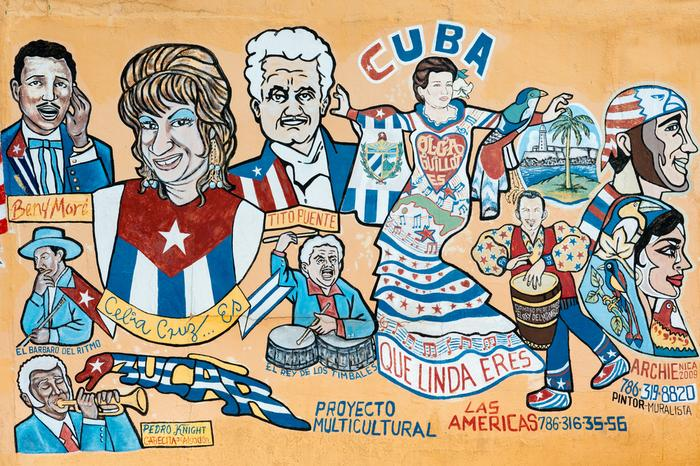 Mural przedstawiający ikony kubańskiej kultury (Mała Hawana)