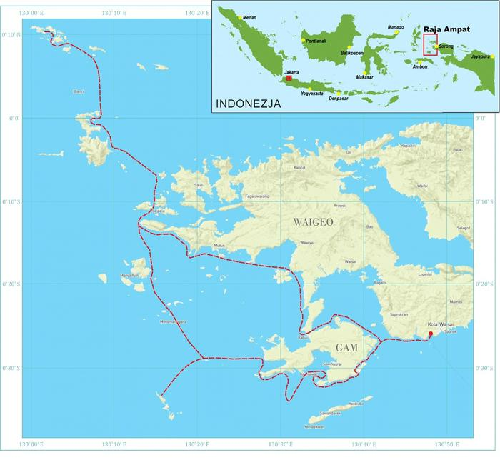 Mapa podróży po Raja Ampat