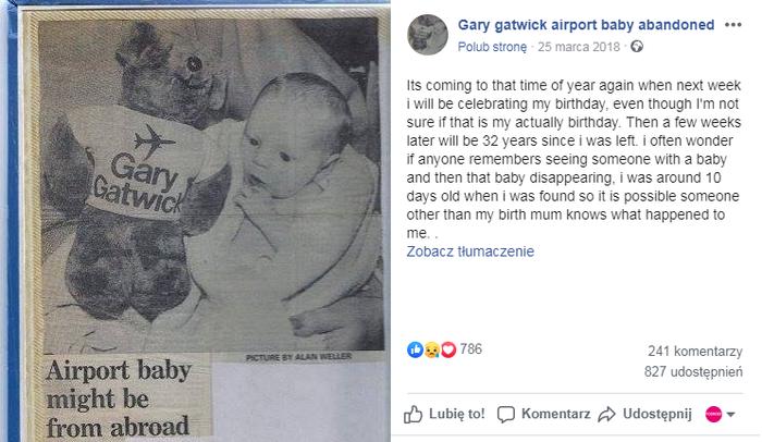 Gary Gatwick - porzucone niemowlę