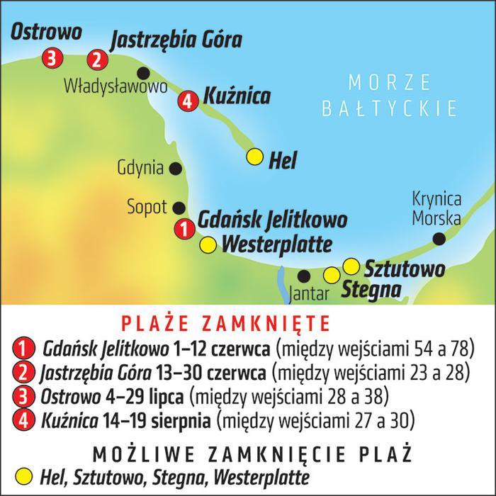 Mapa zamkniętych plaż nad Bałtykiem