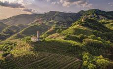 Pejzaż okolic Farra di Soligo nieopodal Valdobbiadene