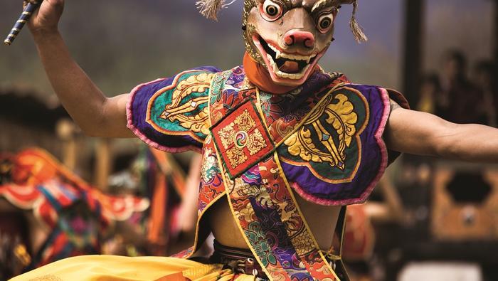 Taniec jeleni wykonywany na jednym z prowincjonalnych festiwali w środkowym Bhutanie.