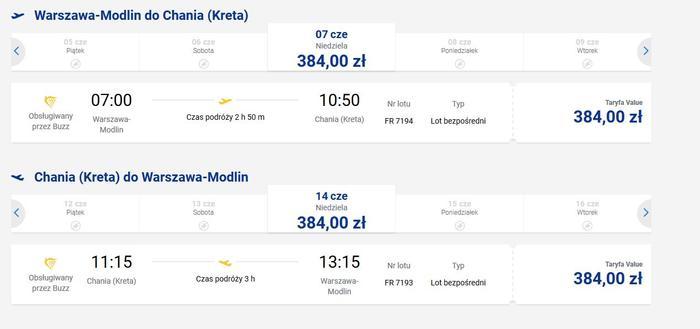 Loty na Kretę z podwarszawskiego Modlina, Ryanair