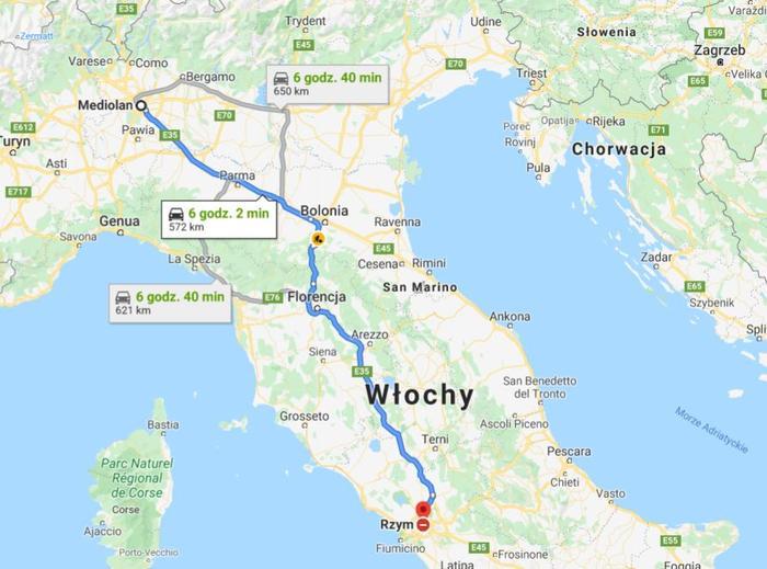 Trasa z Mediolanu do Rzymu