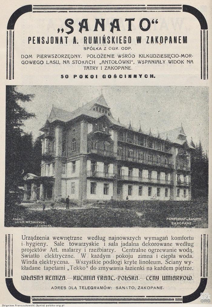 """Reklama pensjonatu """"Sanato"""" 1922 r."""